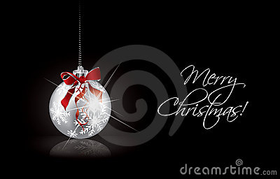 Christmas background with silver ball