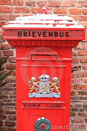 Oldfashioned red dutch letterbox