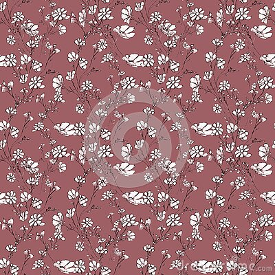 Seamles pattern of tree branch with flowers and leaves, graphic hand drawn, blossom tree on beige background. Simple pencil art