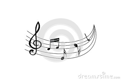 Staff treble clef notes waves. Musical concept vector isolated on white background. Illustration of music note sound, tune, bass