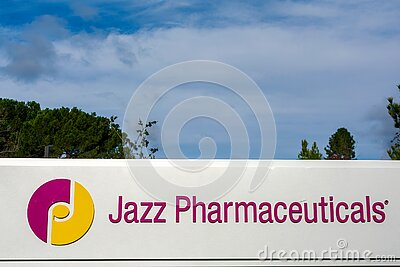 Jazz Pharmaceuticals logo and sign at hq in Silicon Valley. Jazz Pharmaceuticals is an Ireland-based biopharmaceutical company