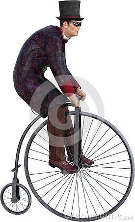 Steampunk Penny Farthing Bike, Isolated
