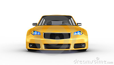 Yellow sports car - 3D render