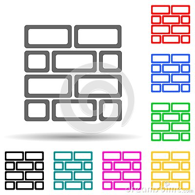 Brick wall multi color style icon. Simple thin line, outline vector of web icons for ui and ux, website or mobile application