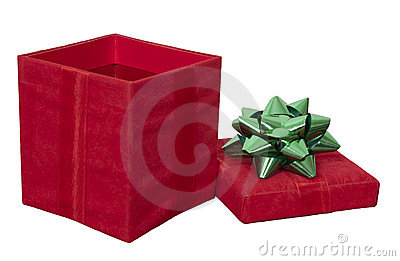 Red Christmas Present Gift Box, Bow Isolated White