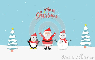 Merry christmas paper art illustration style, with standing santa claus, penguin, snowman, and trees.