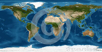 Earth flat view from space. Detailed World physical map on global satellite photo