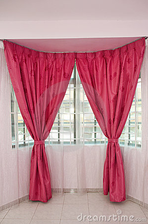 Curtains over window