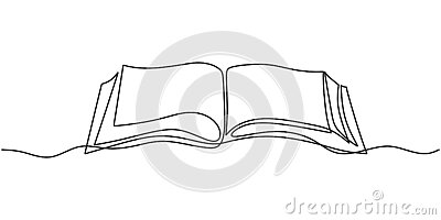 One line drawing, open book. Vector object illustration, minimalism hand drawn sketch design. Concept of study and knowledge