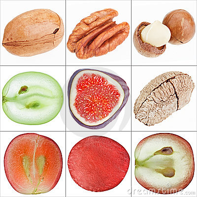 Collage of isolated fruits (nuts, grape, fig)