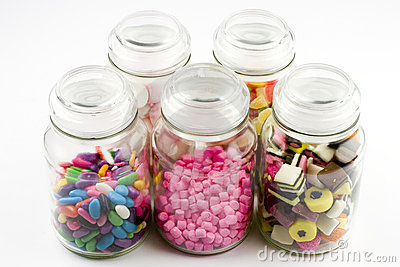 Glass jars filled with candy