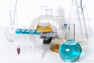 Lab Ware With Glass Flasks and Test Tubes