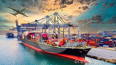 Container cargo ship, Global business import export commerce trade logistic and transportation worldwide by container cargo ship
