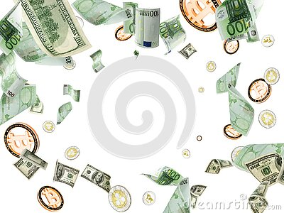 Banknote european cash. Falling American Dollar, Bitcoin money on white. Cryptocurrency business background