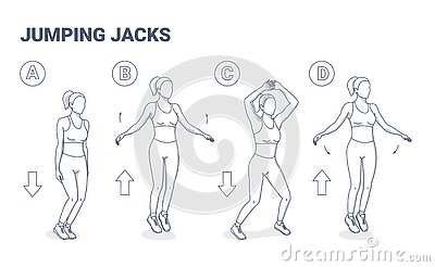 Jumping Jacks Exercise Girl Workout. Star Jumps illustration, a young woman in sportswear does the side-straddle hop.