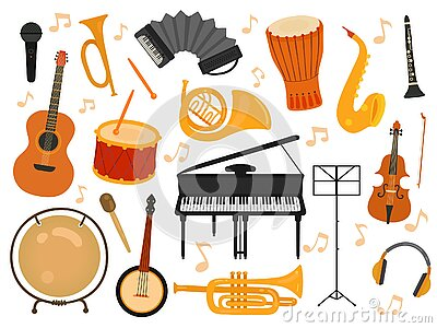 Musical instruments. Sound toys, music instrument for rhythm study. Flat isolated drum and flute, acoustic guitar and