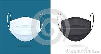 Black and White Medical or Surgical Face Masks. Virus Protection. Breathing Respirator Mask. Healthcare Concept. Vector