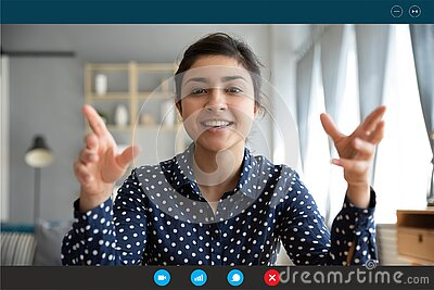 Headshot portrait of smiling indian woman talk on video call