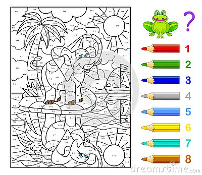 Math education for children. Coloring book. Mathematical exercises on addition and subtraction. Solve examples and paint elephant.