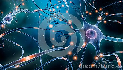 Neuronal network with electrical activity of neuron cells 3D rendering illustration. Neuroscience, neurology, nervous system and