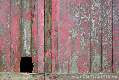 Old Red Door with Hole