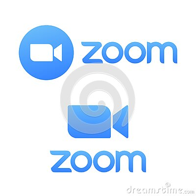 Blue camera icon - Zoom app logo vector - Live media streaming application for the phone, conference video calls with
