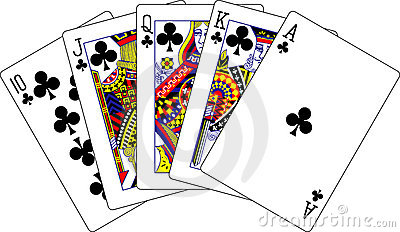 Royal flush clubs playing cards