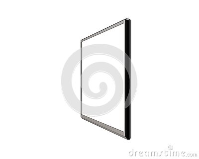 High Angle View of Blank LCD, LCM, LED or TFT TV Panel with Metallic Surface Isolated on White Background.