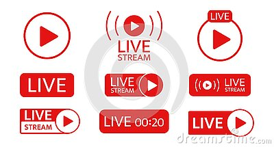Live stream icon set. Social media template. Live streaming, video, news symbol on transparent background. Broadcasting