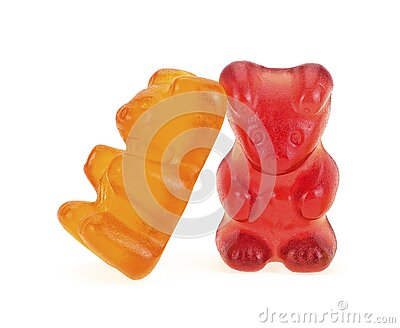 Two colorful gummy bears isolated on white background. Jelly bears