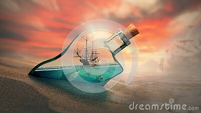 Ship in a bottle in the water at sunset