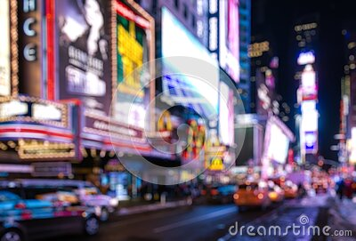 Abstract blurry background of Time Square at night. New York City Manhattan