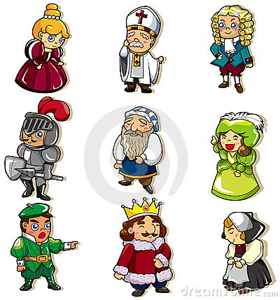 Cartoon medieval people icon, drawing