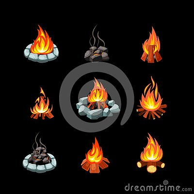 Campfire. collection pictures of glowing flame from bonfire tourism outdoor symbols natural forest fire places. Vector