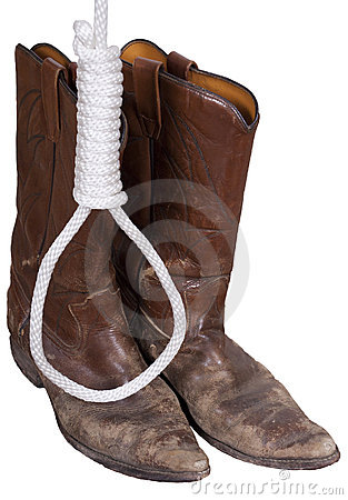 Cowboy Boots, Hangman Noose Rope, Western Old West