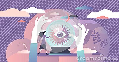 Fortune telling vector illustration. Divination flat tiny persons concept.