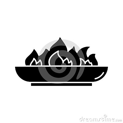 Silhouette Outdoor Fire Pit icon. Outline logo of low bonfire bowl. Black simple illustration of campfire, accessory for backyard