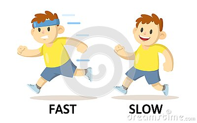Words fast and slow flashcard with running cartoon boy characters. Opposite adjectives explanation card. Flat vector