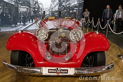 Old timer red Mercedes at Belgrade Car and Motor Show in Belgrade, Serbia
