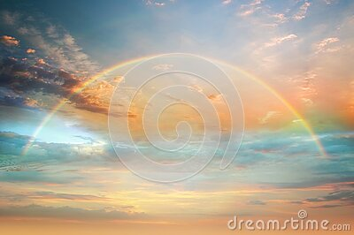 Rainbow colorful  sunset on   blue pink sky yellow  clouds skyline ,water sea reflection beautiful landscape    summer  nature