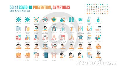 Simple Set of Covid-19 Prevention Flat Icons. such Icons as Protective Measures, Coronavirus, Hygienic Healthcare, Social