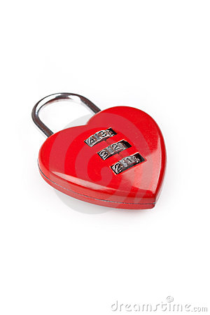 Heart shaped red lock