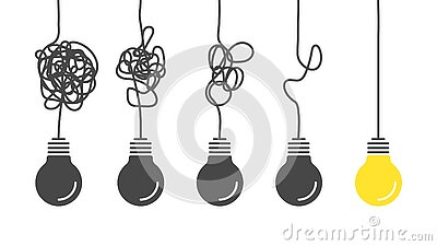 From complex to simple. Simplification streamlining process, complex confusion, clarity idea solution with light bulbs
