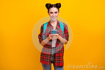Photo of beautiful pretty student lady hold telephone freelance work study read job email go lesson lecture wear blue