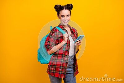 Photo of beautiful student lady hold telephone combine freelance work and study blue rucksack on shoulder wear casual