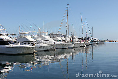 Row of boats and yachts