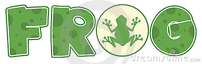 Frog font text with mascot icon