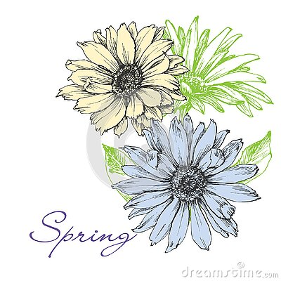 Floral background in spring colors