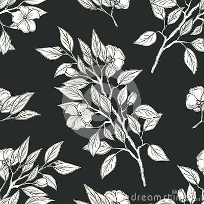 Botanical seamless pattern, Apple tree branches drawn in pencil for postcards, Wallpaper, websites, fabric