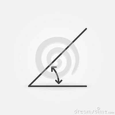 45 degrees angle linear vector concept icon or sign
